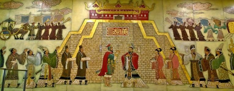 Chinesische Kunst: Wandmalerei in der Metrostation Jintailu